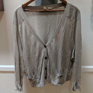MOTH Anthropologie gray cropped lightweight cardi